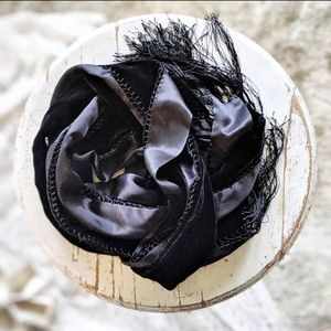 Vintage Black Velvet and Satin Scarf